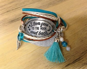 Wedding Gift Quote Leather Bracelet for Women Boho Leather Wrap Motivational Bracelet Anniversary Gift for Her Girlfriend Gift Love You