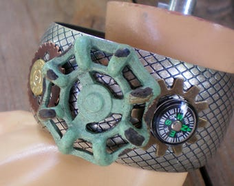 Large bangle steampunk junk bracelet, Sentimental/Reminiscence Memory Jewelry,Up-cycled/Re-purposed jewelry,Free USA shipping,Made in USA/MI