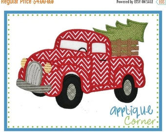 40% OFF INSTANT DOWNLOAD Antique Truck with Christmas Tree applique design in digital format for embroidery machine by Applique Corner