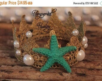Birthday sale Cake topper, Mermaid Crown, Starfish Crown, Beach Birthday, Mermaid Birthday, Beach Decorations, Party Favors, Girl Crown, Ari