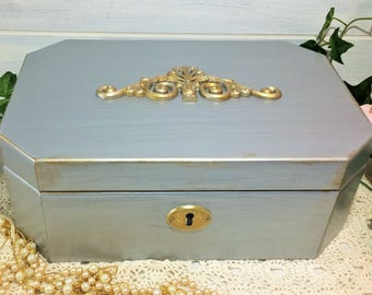 Large Silver Jewelry Box, Silver Jewelry Chest, Women's Jewelry Box, Gold Gilding Silver Painted Jewelry Vanity Box, Hollywood Jewelry Box