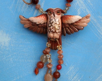 owl necklace with gemstone beads