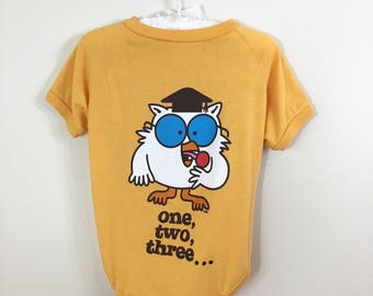 Vintage Style Tootsie Pop Owl Graphic High Low Yellow T-Shirt, for Dogs