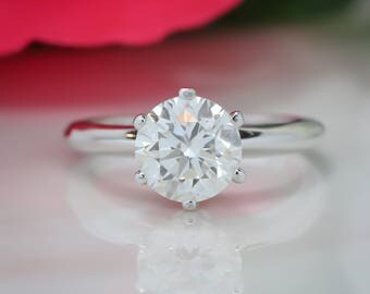 Knife Edge Solitaire Engagement Ring 2 Carat Forever One Moissanite Center - Tiffany