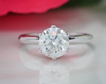 2 carat Moissanite Engagement Ring Knife Edge Solitaire