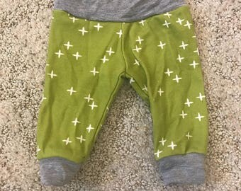Newborn pants baby pants going home set gender neutral green x print and grey