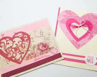 Handmade cards: Valentines cards - Love cards - Anniversary - lots of Hearts - Birthday Cards - Blue - distressed  - Hand made - Wcards