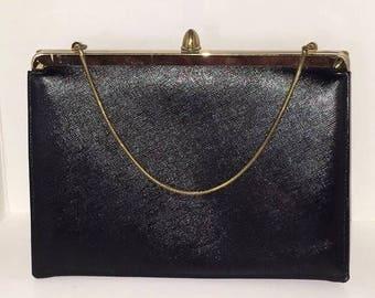 Vintage ETRA Black Leather Clutch Purse Convertible Handbag Gold Chain Mad Men 1960s