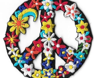 Peace Sign - Retro - Love - Flower Child - BoHo - Embroidered Iron On Patch