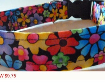 "Sale - 50% Off - Bright Multi Floral Dog Collar - ""Summer Flowers"" - Free Colored Buckles"