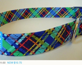 "Sale - 50% Off Plaid Dog Collar -Navy Blue Green Orange Yellow Plaid Dog Collar ""Trevor"" -Free Colored Buc"