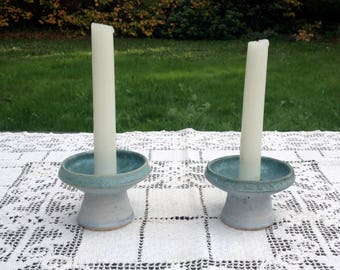 Conwy Pottery/Welsh Candle Holders/Celtic Candlestick Holders/Art Pottery Candleholders/Short Ceramic Candle Holders/Altar Candle Decor