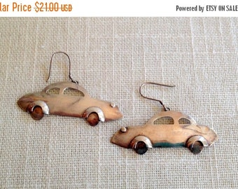 17% OFF SALE Silver Car Earriings/Sterling Silver CAR/Earrings 925 Auto Coupe Driving Jewelry Fun Hanging Pierced Earrings Vintage Car Buff