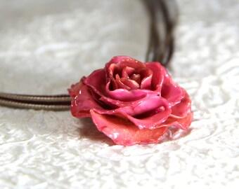 Pink rose pendant etsy pink flower necklace pink rose necklace pink rose pendant real flower necklace real flower jewelry rose audiocablefo light ideas