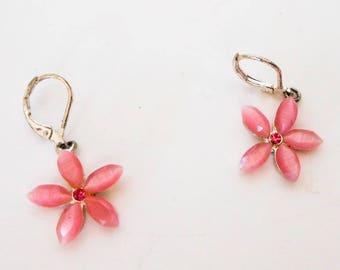 Vintage Pink Flower Rhinestone Drop Earrings     For Pierced Ears