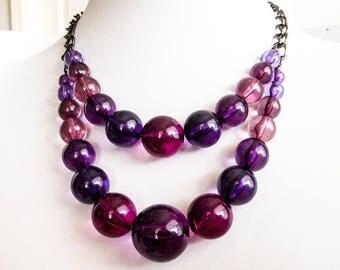Vintage Purple Bubble Bead Double Strand Necklace    Black chain
