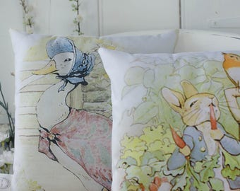 Peter Rabbit and Jemima Puddleduck Gift Set Pillow Nursery Gift or decor Beatrix Potter