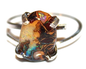 Reserved for JW Koroit Boulder Opal Ring Rustic Opal Ring Australian Opal Ring Opal Jewelry Raw Opal Ring Artisan Jewelry Natural Opal