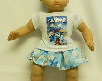 Smurfs Theme Outfit  For 16 Inch Doll Like The Bitty Baby