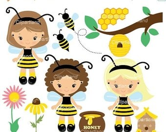 ON SALE INSTANT Download. Bee girl clip art. Cb_1. Personal and commercial use.