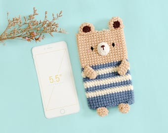 Crochet Bear no.3 iPhone 7 plus Case, Crochet cellphone case pouch/case, iPhone 7 plus, iPod, Mobile phone, Electronics case.