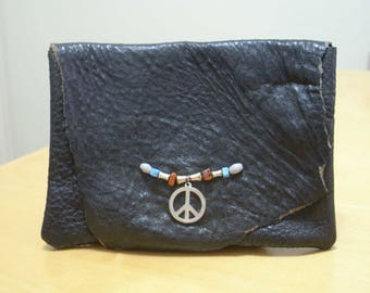 FREE SHIPPING! Boho black leather belt pouch with peace sign