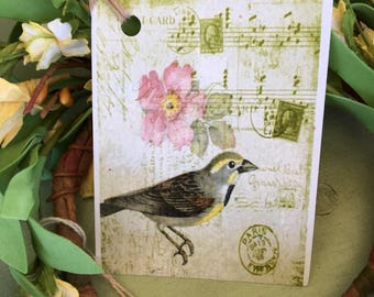Bird Botanical Hang Tag