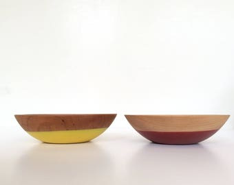 Beech and Cherry Wood Bowls By Willful, Red, Yellow, Snack Bowl, Solid Wood Bowls