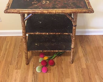Antique ENGLISH VICTORIAN TABLE, Circa 1880, Decoupage and Leather, Bamboo Side Table, 3 Tier, Chinoiserie, Tropcial, at Ageless Alchemy