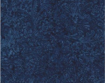 Timeless Treasures Fabric, Feather Paisley Batik, Paisley on Blue
