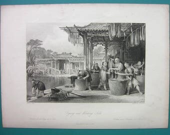 CHINA Dyeing and Winding Silk - 1840s Original Print Engraving by Thomas ALLOM