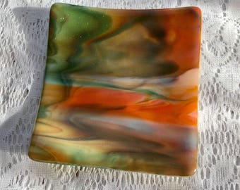 Fused Glass Plate, Orange Green Ivory Art Glass Plate, Sushi Dish