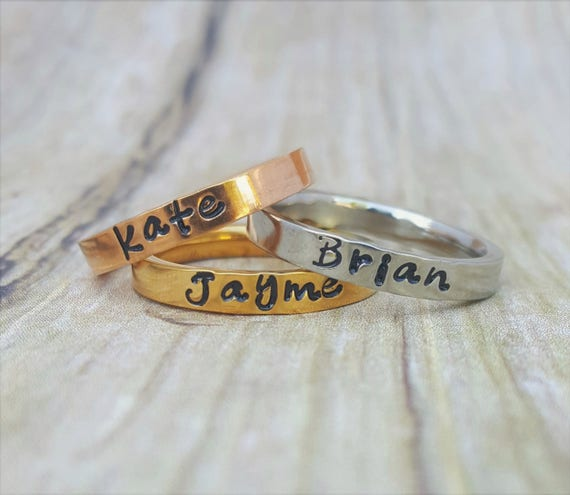 Silver Gold Rose Gold Stacking Name Ring Stackable