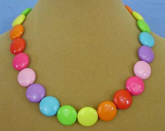 "Cheerful, COLORFUL 18"" ""Candy"" Necklace - N558"