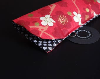 Glasses case padded, red, cherry blossom, SAKURA