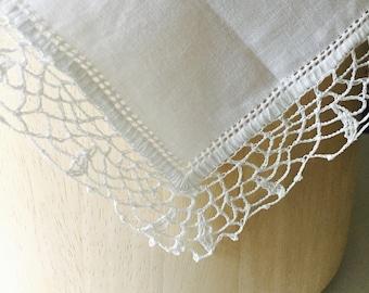 Vintage White Handkerchief Bridal Mormon Handicraft Crochet Lace Linen 12 Inch Handmade Handkerchief