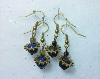steampunk beaded gemstone earrings