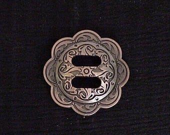 "Concho Antique Copper Slotted Double Scallop 1.5"""