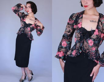 1940s-style Night Garden blouse | vintage 70s does 40s dark floral rayon peplum top | small