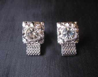 Cufflinks Crystal, Swank Cufflinks Wedding, Vintage Men Cuff Links Silver, Crystal Cufflinks, Cufflinks for Groom