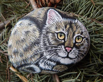 Bobcat Painted Rock Art, Bobcat Painting, Wildcat Painted Rock, Bobcat Painted Stone