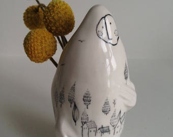 Ceramic Russian Doll Vase with Tiny Town