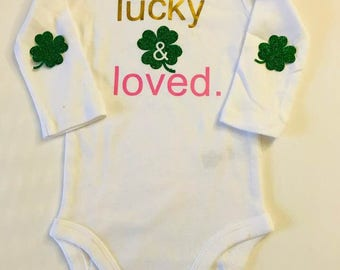 St. Patty's Day onesie, Kids St. Patrick's Day onesie, girls Irish onesie, St. Patrick's Day tee shirt-lucky and loved