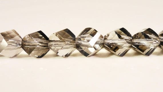 Gray Helix Crystal Beads 6mm Silver Grey Faceted Chinese Crystal Beads on a 6 1/2 Inch Strand with 33 Beads