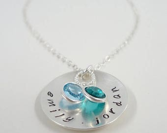 SALE - Hand Stamped Mommy Necklace - Sterling Silver Personalized Domed Disc Necklace with Swarovski Crystal Birthstones - Custom Jewelry