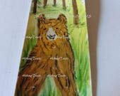 Hand painted Bookmark, Grizzly Bear In Forest, Watercolor painted, grizzly bear art, miniature bear art, Fine Art Watercolor by HikingTrails