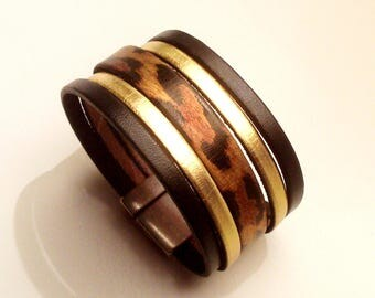 Black Gold Leather cuff and leopard with magnetic clasp