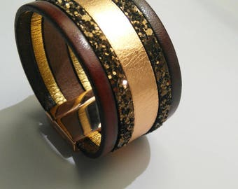 cognac leather cuff glittery chocolate and rose gold clasp with rose gold