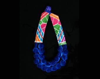 SILVINA Double Necklace - Blue Velvet - Multicolor Cross Stitch Embroidery
