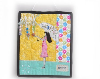 Mini Quilt, Fabric Art Quilt, Wall decor, Quilt wall hanging, Flower Girl, flowers, girl, parasol, Cottage Chic, OOAK, Handmade,